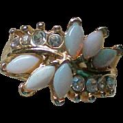 Opal Glass Rhinestone Ring – Size 5
