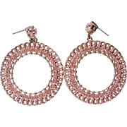 HUGE Graziano Rhinestone Hoop Earrings