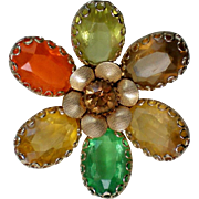 Fabulous Multi-colored Autumn Flower Brooch