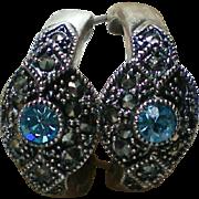 Sterling Marcasite Blue Topaz Pierced Earrings
