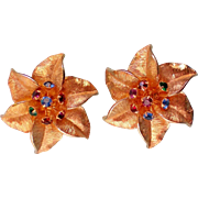Judy Lee Gold tone Star Flower Clip Earrings