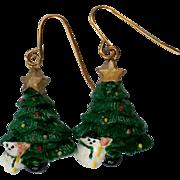 Christmas Tree Snowman Earrings for the Holidays / Christmas