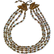 Crystal and Wire Bead Gold tone 4 Strand Necklace