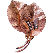 Golden Leaves with Butterfly Pin