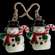 Puffy Little Snowman Pierced Dangle Earrings