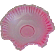 "Fenton Pink Crest 10"" Double Crimped Bowl"