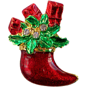 Christmas Holiday Stocking with Presents Pin