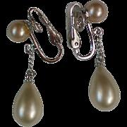 Trifari Faux Pearl Dangle Clip Earrings