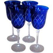Cobalt Cut to Clear Wine Glasses – Set of Four