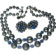 Mid-Century Vintage Double Strand Necklace with Clip Earrings