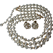 Vintage Mid-Century Simulated Pearl Triple Strand Necklace with Earrngs