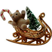 Avon Christmas Teddy Bear in a Sleigh Pin