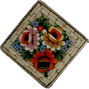 Italian Glass Floral Micro Mosaic Pin signed RM