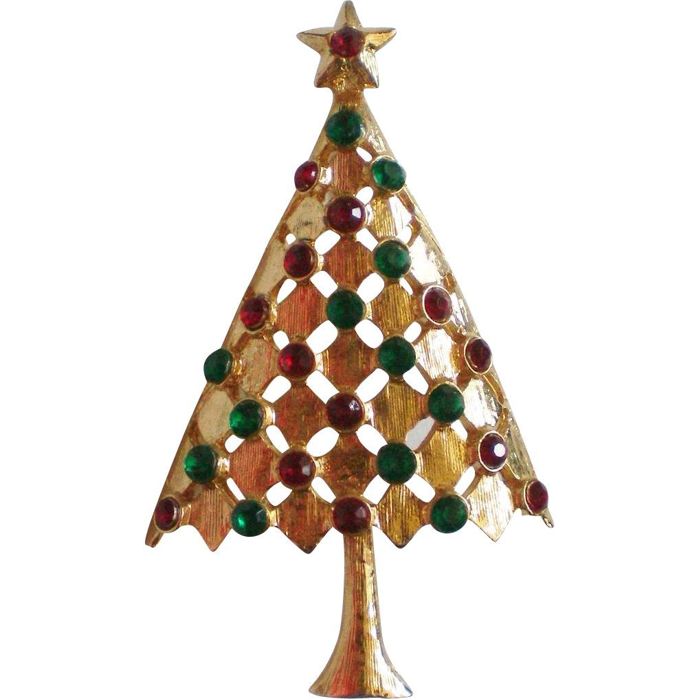 Red and green rhinestone gold tone christmas tree pin from for Red and green christmas tree