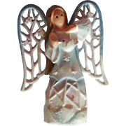Porcelain Angel with Metal Wings Pin