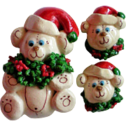 Santa Bears Pin and Earring Set
