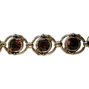 Chunky Foil Backed Deep Brown Rhinestone Station Bracelet