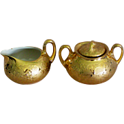 22 KT Gold Weeping Gold Porcelain Creamer & Sugar Set