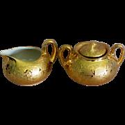 22 KT Gold Weeping Gold Porcelain Creamer & Sugar Set