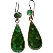 Green Molded Glass Pierced Drop Earrings