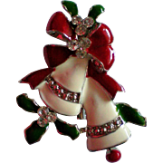 Snow White Christmas / Holiday Bells with Holly and Ribbon