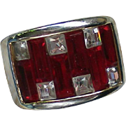 Red & Clear Baguette Rhinestone Ring – Size 6½