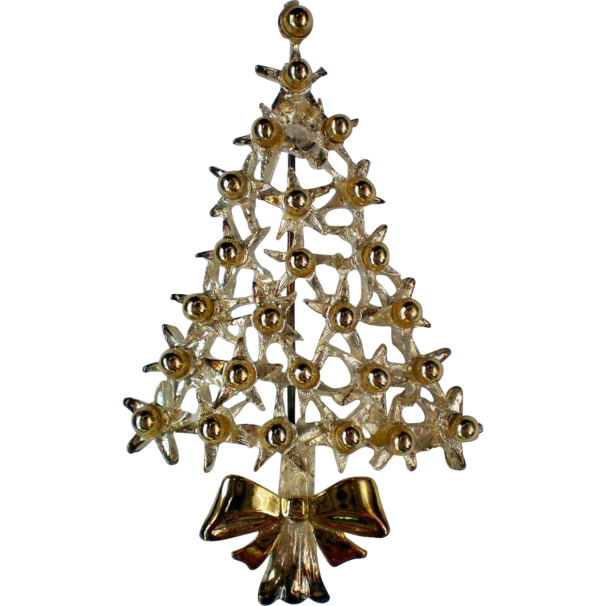 Silver Plated And Gold Tone Christmas Tree Pin Sold On