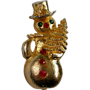 Gold tone Winter Snowman Pin with Red & Green Rhinestones