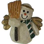 Molded Primitive Sculpture Snowman Angel Pin