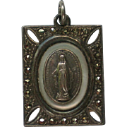 Sterling Silver Catholic Medal with Mother of Pearl