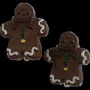 Ginger Bread Man Clip Earrings