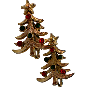 Christmas Tree Clip Earrings for the Holidays
