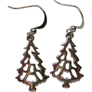 Christmas Tree Silver tone Metal Dangle Earrings for the Holidays