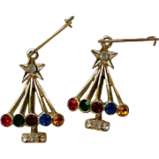 French Wire Christmas Tree Dangle Earrings