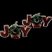 JOY Holiday Pierced Earrings for Christmas