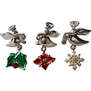 Three Angel Tie Tack Pins for the Holidays / Christmas