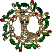 Gerry's Holiday Wreath with Deer Pin