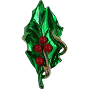 Holly Leaf with Red Bead Berries Pin for the Holidays