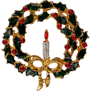 Holiday Wreath of Holly Leaves and Berries Pin for Christmas