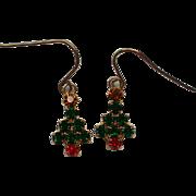 Miniature Tree Pierced Dangle Earrings for Christmas
