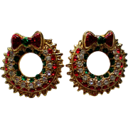 Christmas / Holiday Wreath Pierced Earrings