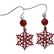 Red Snowflake Pierced Dangle Earrings for the Holidays
