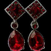 Ruby Red Faceted Glass Pierced Dangle Earrings