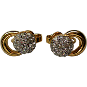 Trifari Pave Rhinestone Clip Earrings