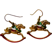 Christmas / Holiday Rocking Horse Dangle Earrings
