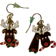 Articulated Christmas Holiday Moose Pierced Earrings