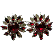 Kramer of NY Ruby Red Crystal Layered Clip Earrings
