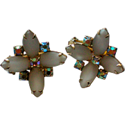 Hobe Aurora Borealis & Milk Glass Clip Earrings