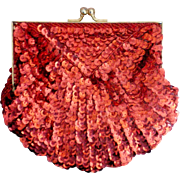 Ruby Red Sequin Clutch Purse with Chain