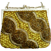 Yellow Satin Beaded Evening Bag